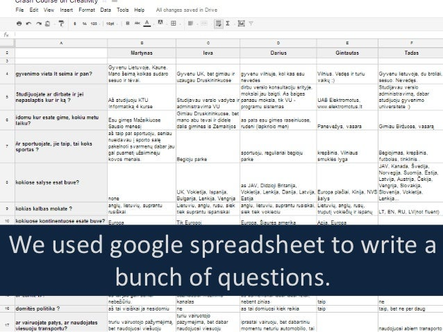 We used google spreadsheet to write a        bunch of questions.