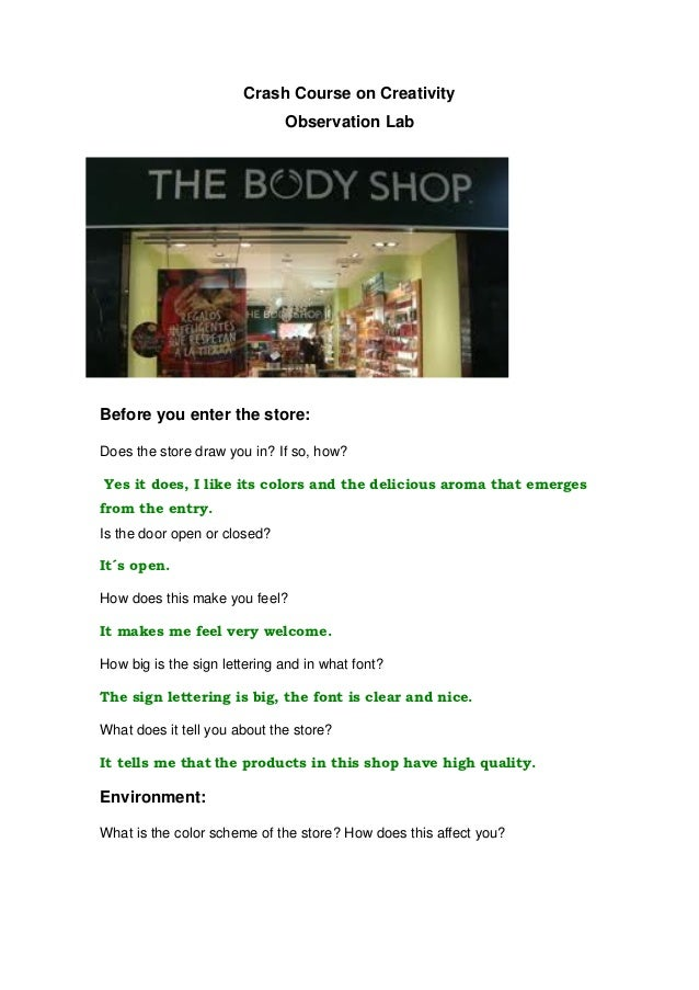 Crash Course on Creativity                              Observation LabBefore you enter the store:Does the store draw you ...