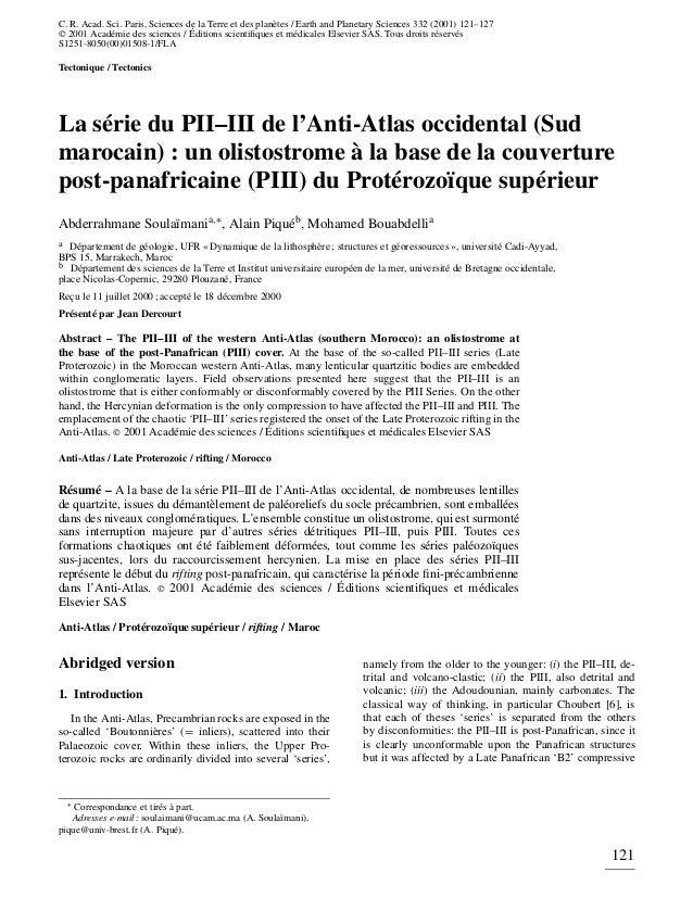 C. R. Acad. Sci. Paris, Sciences de la Terre et des planètes / Earth and Planetary Sciences 332 (2001) 121–127 2001 Acadé...