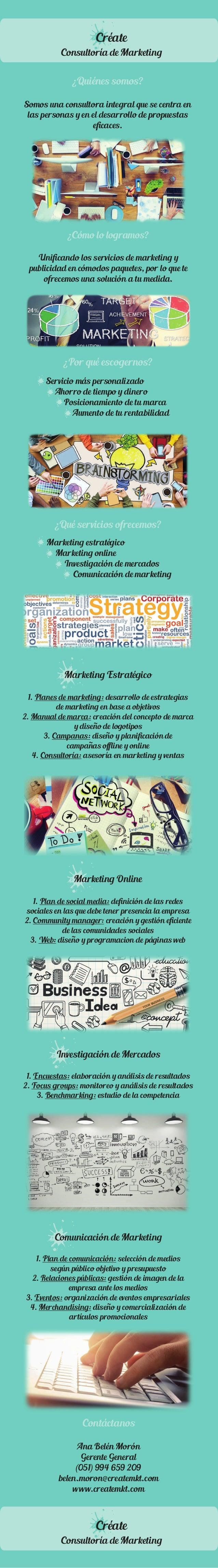 Créate  Consultoría de Marketing  ¿Quiénes somos?  Somos una consultora integral que se centra en  las personas y en el de...