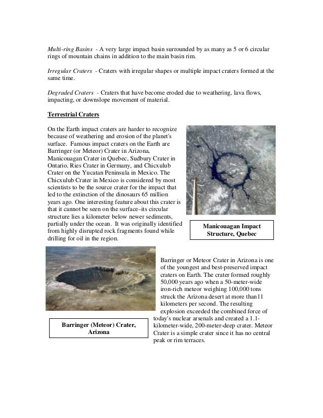 Craters activity