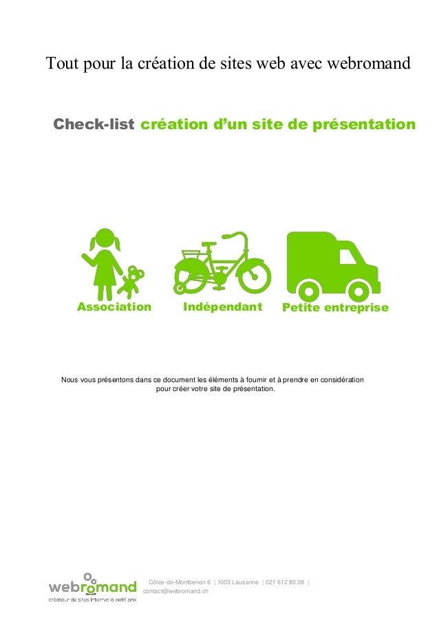 Tout pour la création de sites web avec webromand Check-list  création d'un site de présentation Association Indépendant ...
