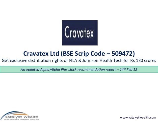 Cravatex Ltd (BSE Scrip Code – 509472) Get exclusive distribution rights of FILA & Johnson Health Tech for Rs 130 croresGe...