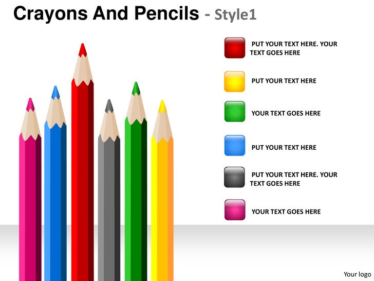 Crayons and pencils style 1 powerpoint presentation templates crayons toneelgroepblik Images