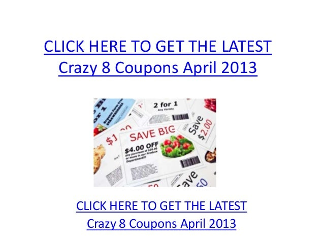 graphic regarding Crazy 8 Coupons Printable known as Nuts 8 Discount coupons April 2013 - Printable Mad 8 Coupon codes April