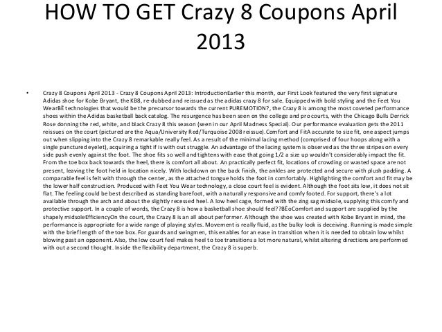 image relating to Crazy 8 Printable Coupon referred to as Mad 8 advertising code : Acquiring an ez p