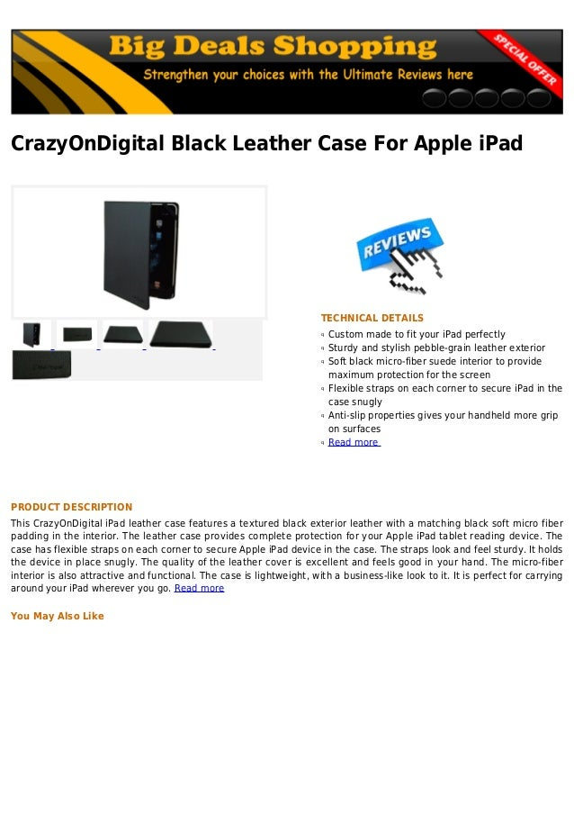 CrazyOnDigital Black Leather Case For Apple iPadTECHNICAL DETAILSCustom made to fit your iPad perfectlyqSturdy and stylish...