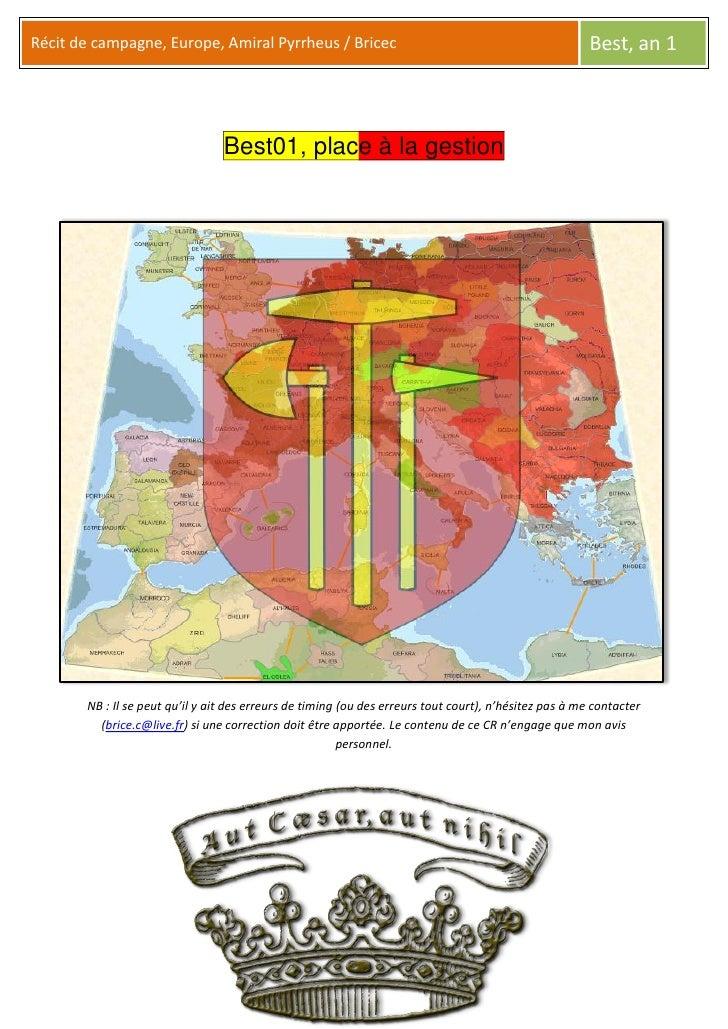 Récit de campagne, Europe, Amiral Pyrrheus / Bricec                                                     Best, an 1        ...