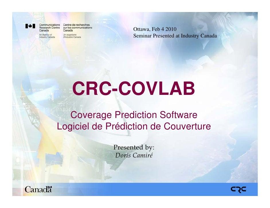 CRC-Covlab Coverage Prediction Software Seminar at Industry