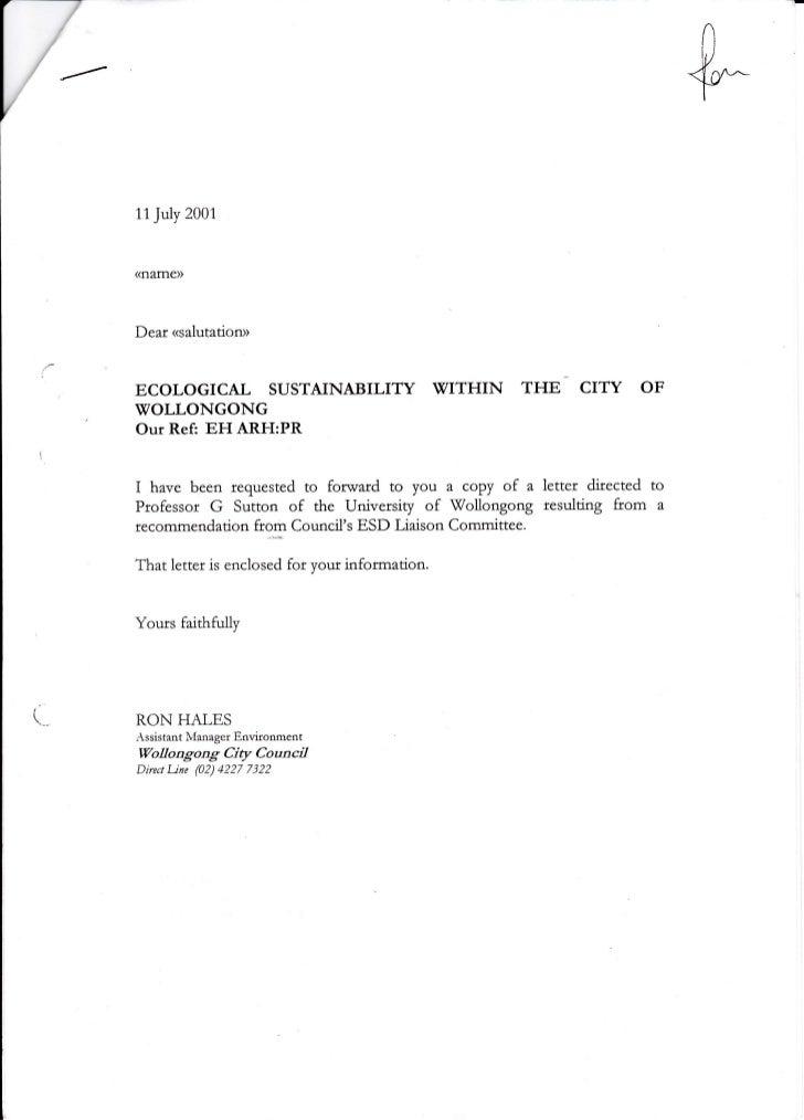 11July 2001(flame))Dear <salutatioru>ECOLOGICAL SUSTAINABILITY WITHIN                      THE CITY         OFWOLLONGONGOu...