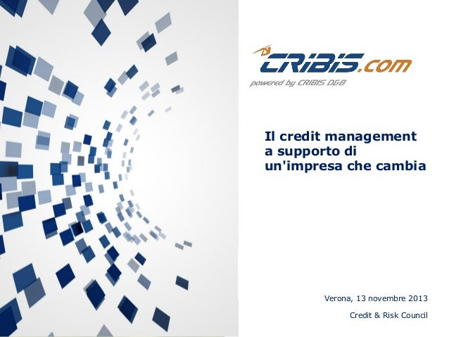 Il credit management a supporto di un'impresa che cambia  Verona, 13 novembre 2013 Credit & Risk Council