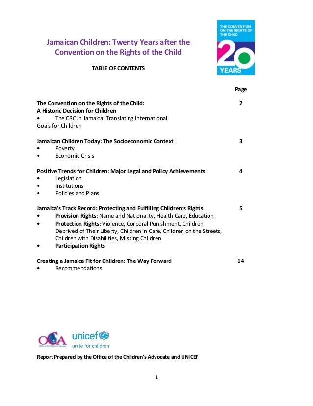 Jamaican Children: Twenty Years after the      Convention on the Rights of the Child                      TABLE OF CONTENT...