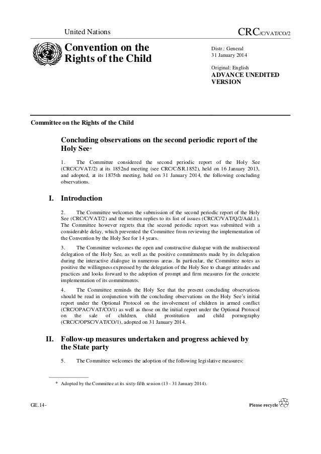 United Nations  Convention on the Rights of the Child  CRC/C/VAT/CO/2 Distr.: General 31 January 2014 Original: English  A...