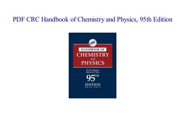 Crc Handbook Of Chemistry And Physics 94th Edition Pdf