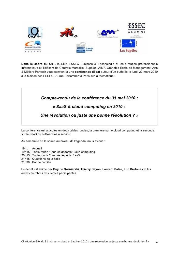 Dans le cadre du G9+, le Club ESSEC Business & Technologie et les Groupes professionnels Informatique et Télécom de Centra...