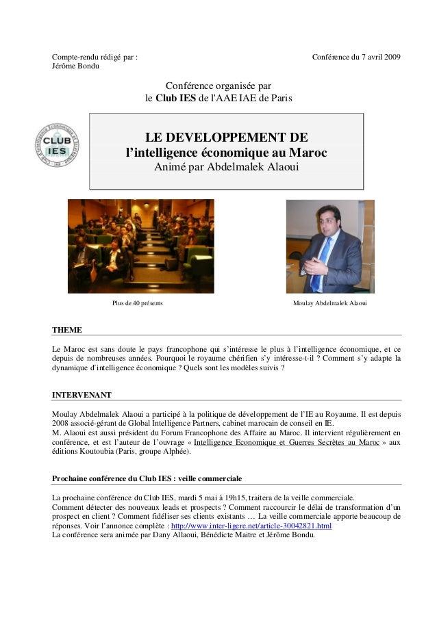 Compte-rendu rédigé par :                                                    Conférence du 7 avril 2009Jérôme Bondu       ...