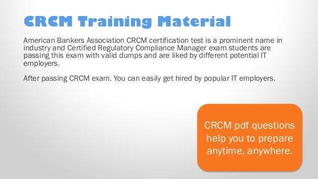 CRCM Exam Test Dumps Buy Updated American Bankers Association CRCM pr…
