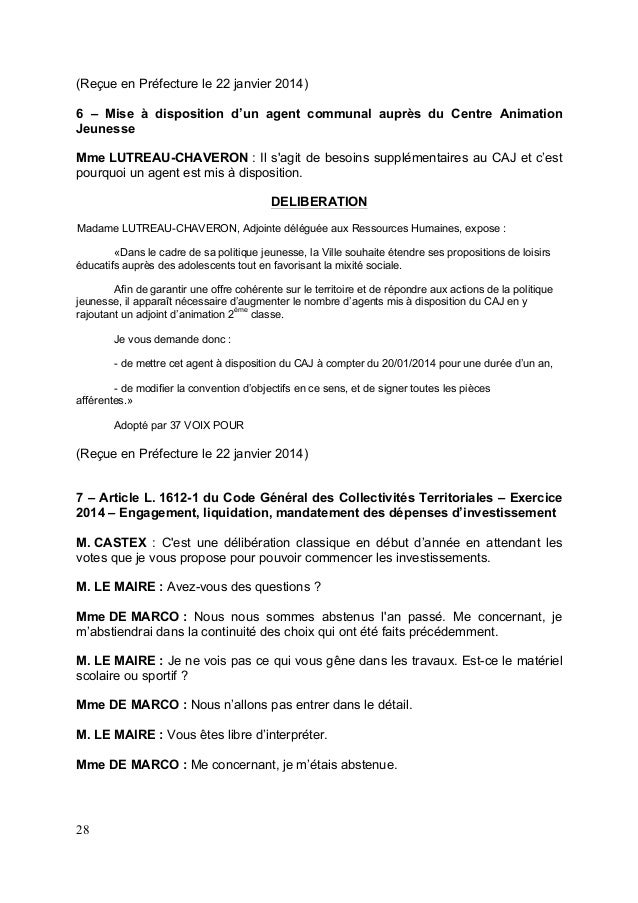 Cr cm du 16 janvier 2014 - Grille indiciaire adjoint d animation eme classe ...