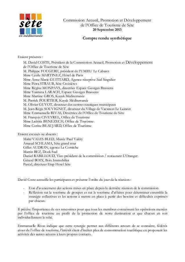 Commission Accueil, Promotion et Développement de l'Office de Tourisme de Sète 20 Septembre 2013  Compte rendu synthétique...