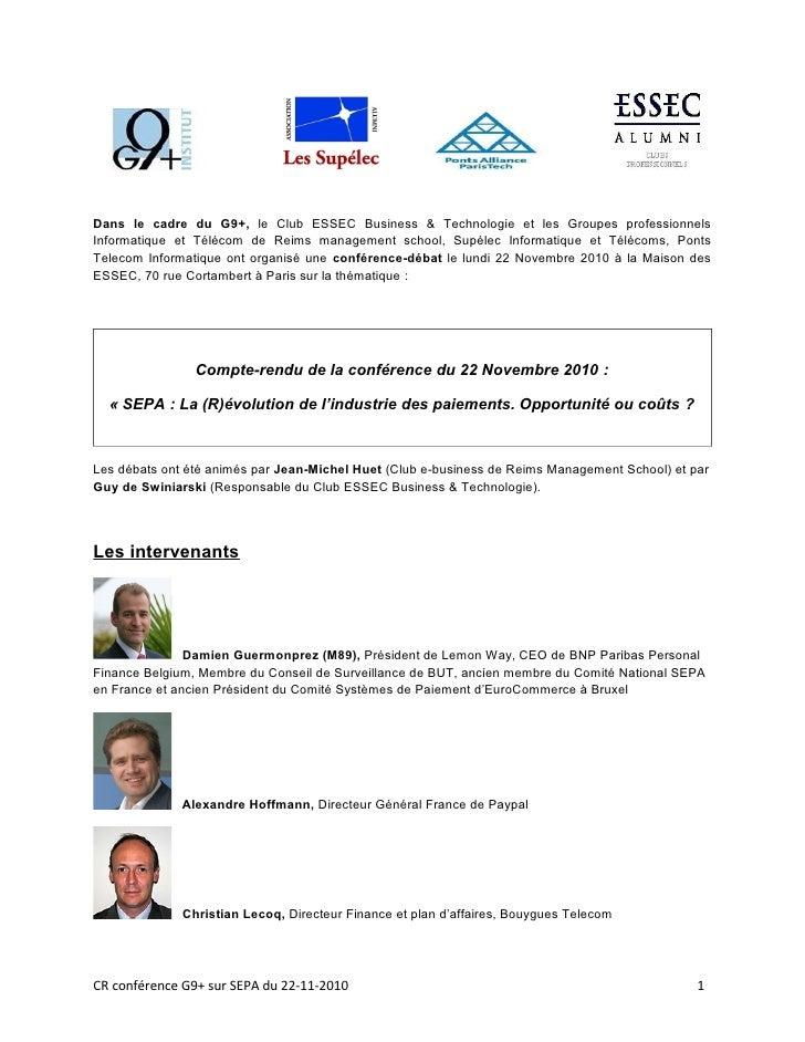 Dans le cadre du G9+, le Club ESSEC Business & Technologie et les Groupes professionnelsInformatique et Télécom de Reims m...