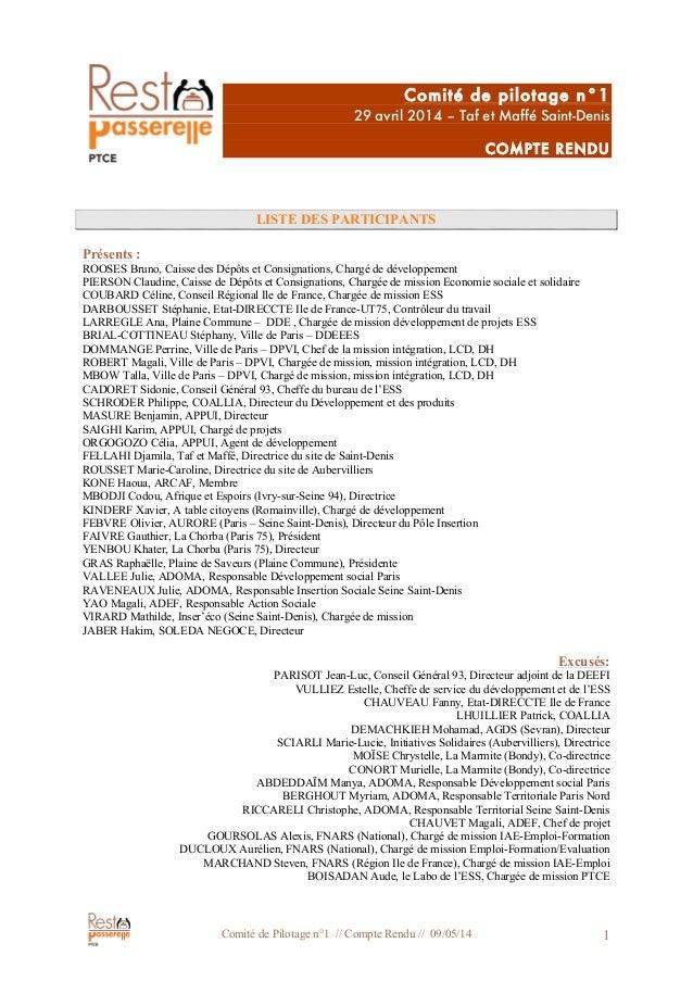 Comité de Pilotage n°1 // Compte Rendu // 09/05/14 1 Comité de pilotage n°1 29 avril 2014 – Taf et Maffé Saint-Denis COMPT...