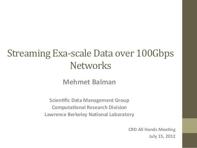 Streaming  Exa-‐scale  Data  over  100Gbps   Networks   Mehmet  Balman      Scien.fic  Data  Managem...