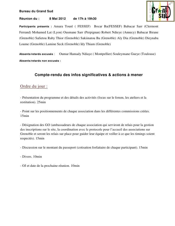 Bureau du Grand SudRéunion du :          8 Mai 2012        de 17h à 19h30Participants présents :   Amara Touré ( FESSEF)  ...
