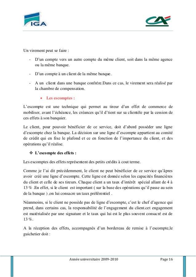 Rapport de stage cr dit du maroc for Chambre de compensation bancaire