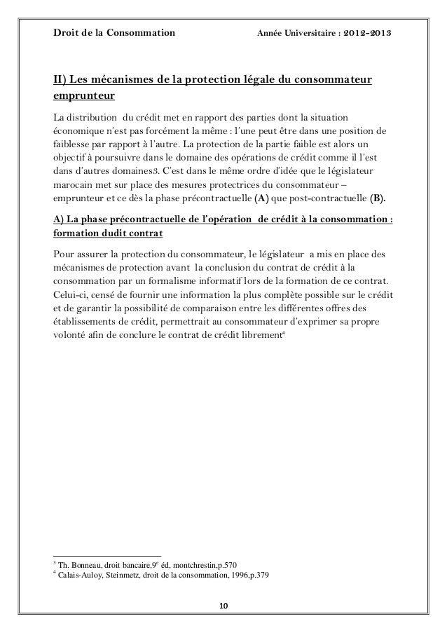 Droit de la Consommation Année Universitaire : 2012-20131010II) Les mécanismes de la protection légale du consommateurempr...