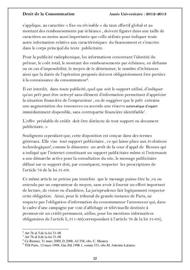Droit de la Consommation Année Universitaire : 2012-20131212s'applique, au caractère « fixe ou révisable » du taux effecti...
