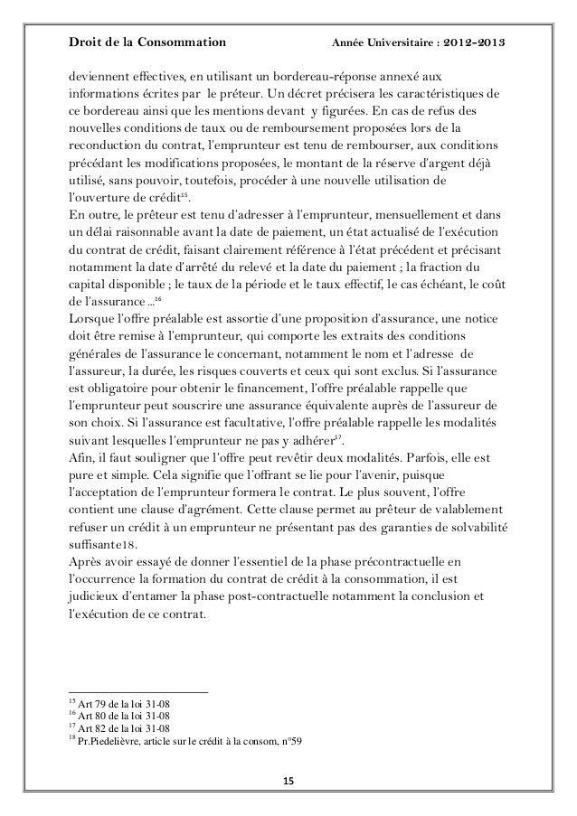 Droit de la Consommation Année Universitaire : 2012-20131515deviennent effectives, en utilisant un bordereau-réponse annex...