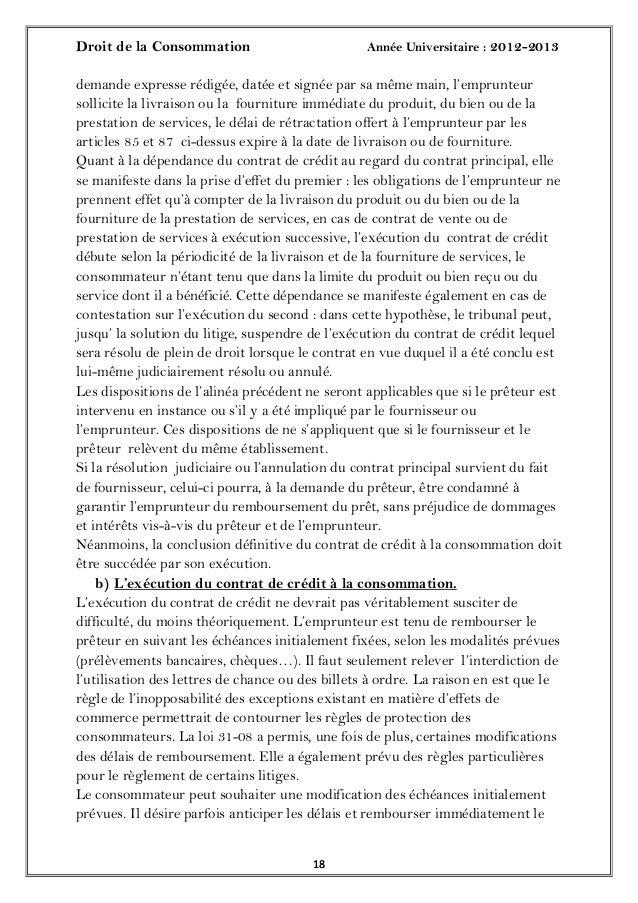 Droit de la Consommation Année Universitaire : 2012-20131818demande expresse rédigée, datée et signée par sa même main, l'...