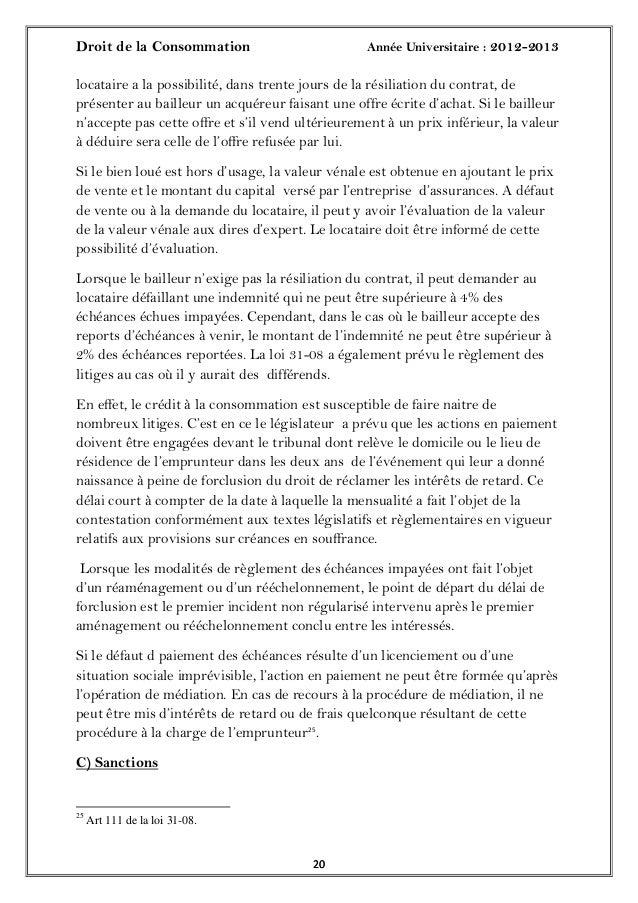 Droit de la Consommation Année Universitaire : 2012-20132020locataire a la possibilité, dans trente jours de la résiliatio...