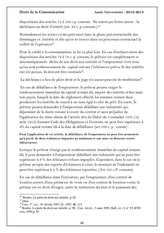 Droit de la Consommation Année Universitaire : 2012-20132222dispositions des articles 72 à 104 c.p .consom. Ne soient pas ...