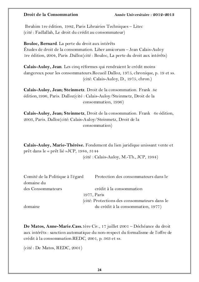 Droit de la Consommation Année Universitaire : 2012-20132424Ibrahim 1re édition, 1982, Paris Librairies Techniques – Litec...