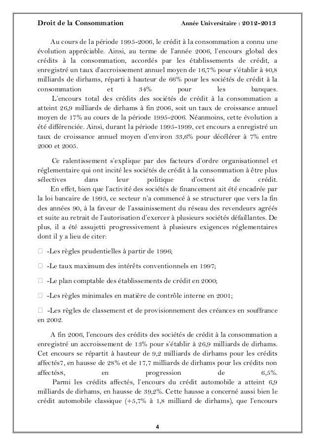 Droit de la Consommation Année Universitaire : 2012-201344Au cours de la période 1995-2006, le crédit à la consommation a ...