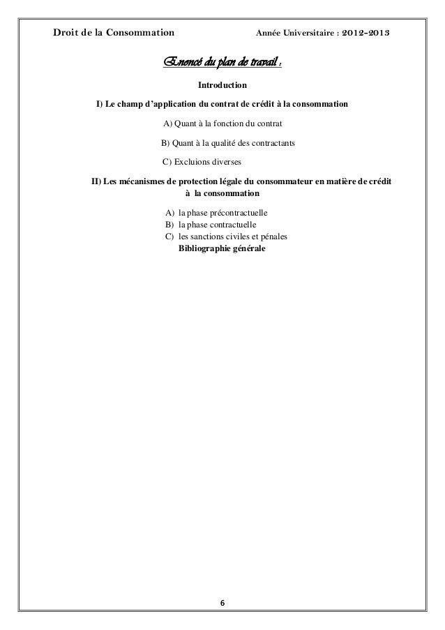 Droit de la Consommation Année Universitaire : 2012-201366Enoncé du plan de travail :IntroductionI) Le champ d'application...