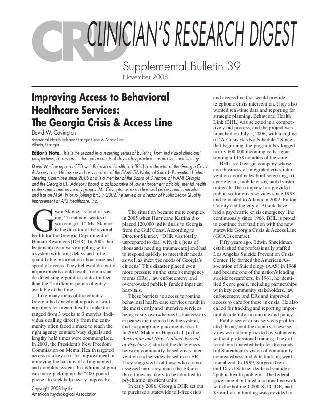 Supplemental Bulletin 39 November 2008 Copyright 2008 by the American Psychological Association Editor's Note. This is the...