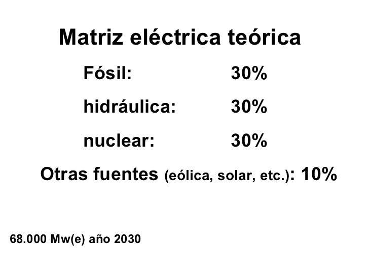 Matriz eléctrica teórica  Fósil:  30%   hidráulica:  30%   nuclear:  30% Otras fuentes  (eólica, solar, etc.) : 10% 68.000...