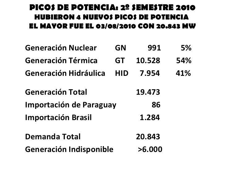 PICOS DE POTENCIA: 2º SEMESTRE 2010 HUBIERON 4 NUEVOS PICOS DE POTENCIA  EL MAYOR FUE EL 03/08/2010 CON 20.843 MW <ul><li>...