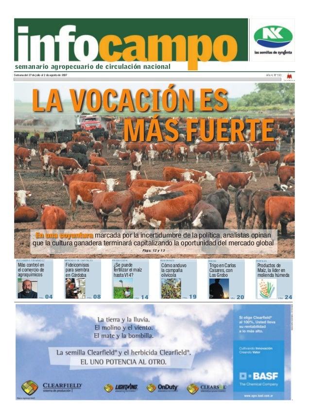 semanario agropecuario de circulación nacionalSemana del 27 de julio al 2 de agosto de 2007                               ...