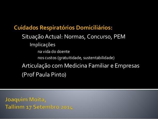 Cuidados Respiratórios Domiciliários:  Situação Actual: Normas, Concurso, PEM  Implicações  na vida do doente  nos custos ...