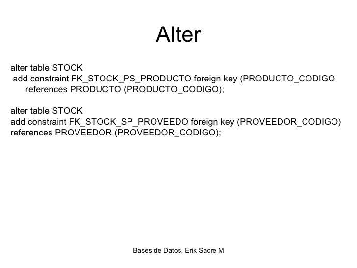 Creaci n tablas en oracle - Alter table drop constraint ...