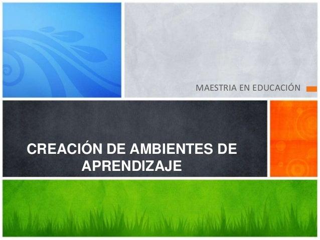 MAESTRIA EN EDUCACIÓN  CREACIÓN DE AMBIENTES DE  APRENDIZAJE