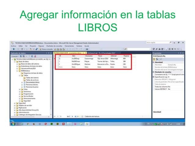 Agregar información en la tablas LIBROS