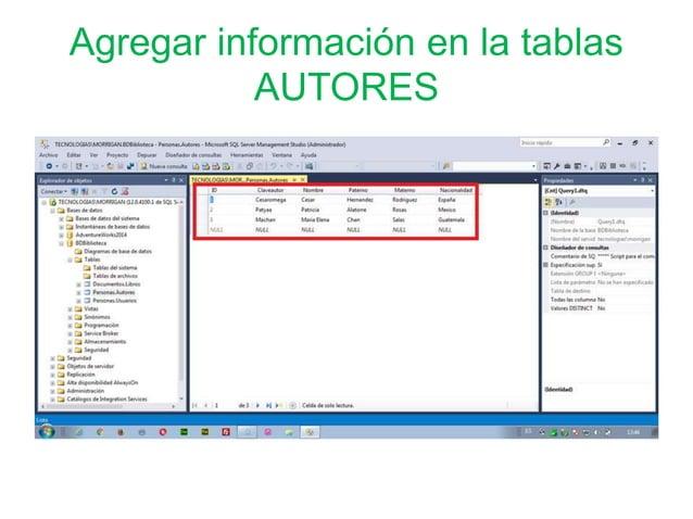 Agregar información en la tablas AUTORES