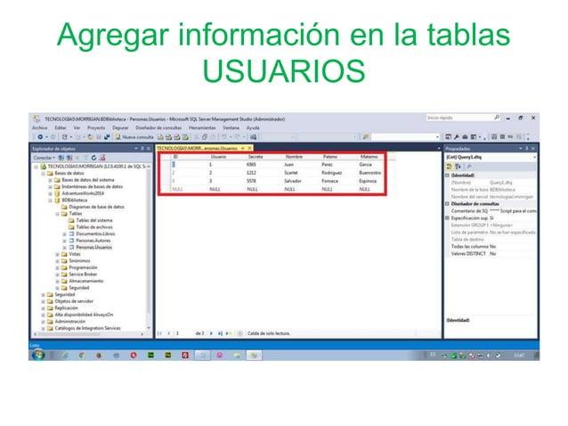 Agregar información en la tablas USUARIOS