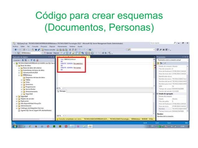 Código para crear esquemas (Documentos, Personas)