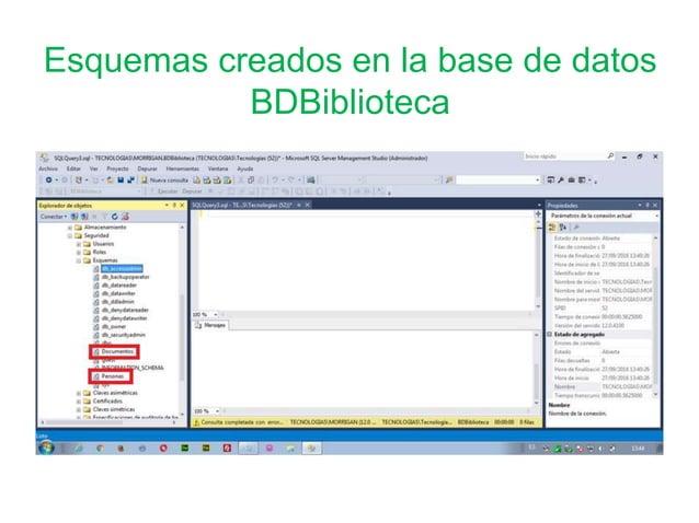 Esquemas creados en la base de datos BDBiblioteca