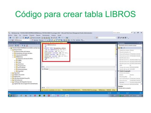 Código para crear tabla LIBROS